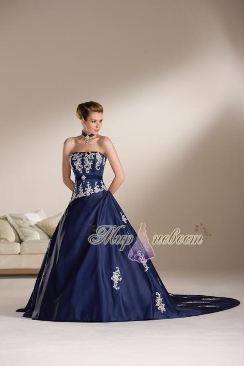 синее свадебное платье картинка