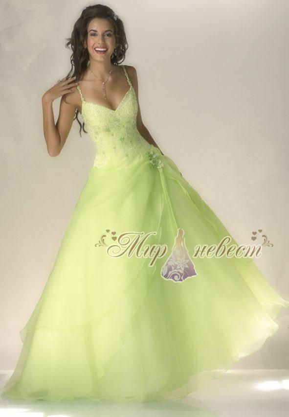 зелёное свадебное платье картинка